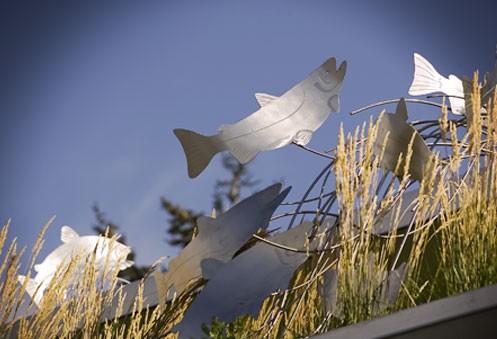 metal fish sculpture at a new seasons store