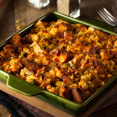 Stuffing with Butternut Squash and Leek in green dish