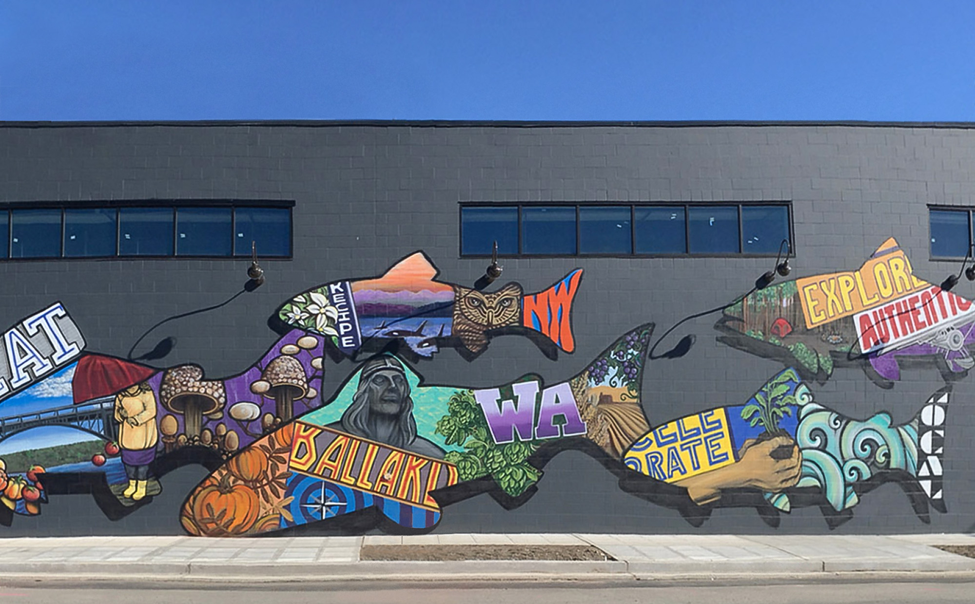 mural on a wall of colorful fish