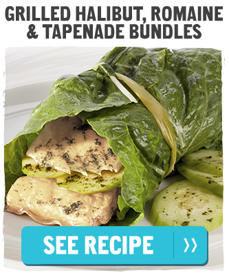 Grilled Halibut, Romaine & Tapenade Bundles