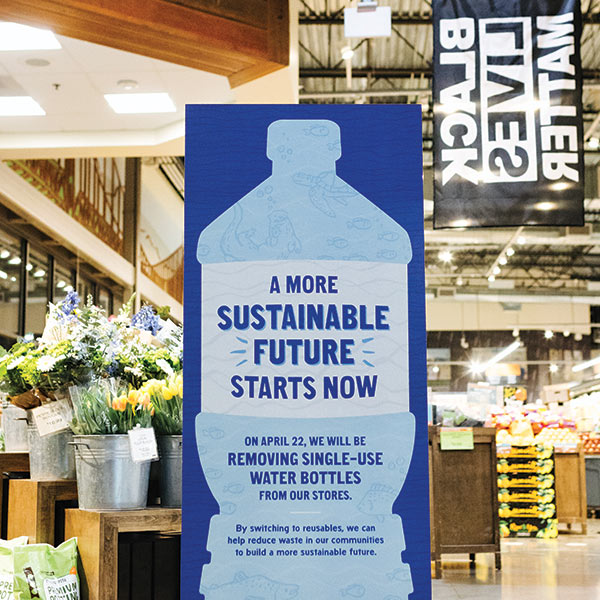 Water bottle initiative - removing single use water bottles in our New Seasons Market stores for a sustainable future.