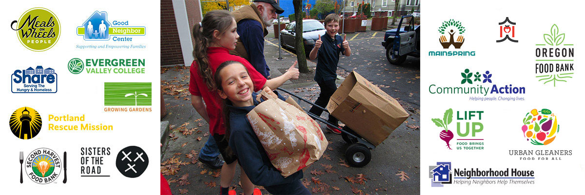 Children carrying paper bags of food. Logos for hunger match partners including meals on wheels people, evergreen valley college, sisters of the road, second harvest food bank, portland rescue mission, mainspring, and urban gleaners.